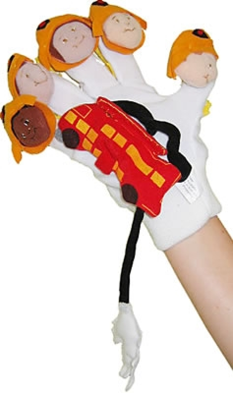 Firefighters and fire truck hand glove. Fits adult hand. Storytelling puppet.